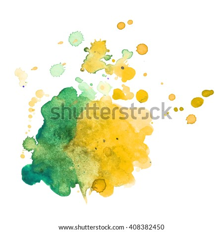 Expressive abstract watercolor spot blotch with splashes two green yellow color. Banner for text, grunge element for decoration. Watercolor drop. - stock vector
