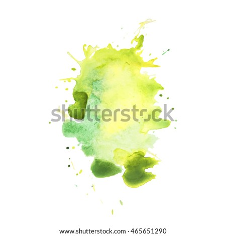 Expressive abstract watercolor stain with splashes and drops of light yellow green color.