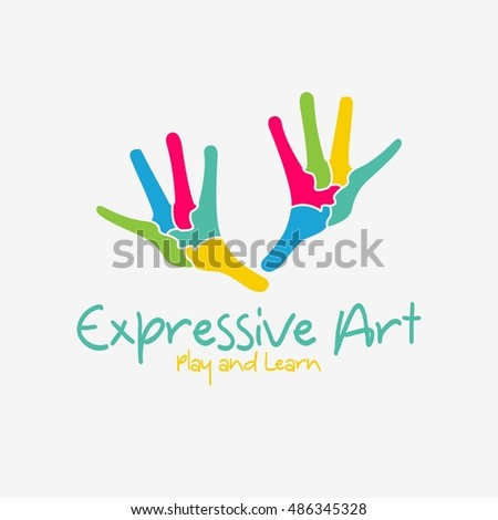 Expressive art logo design template. vector illustration