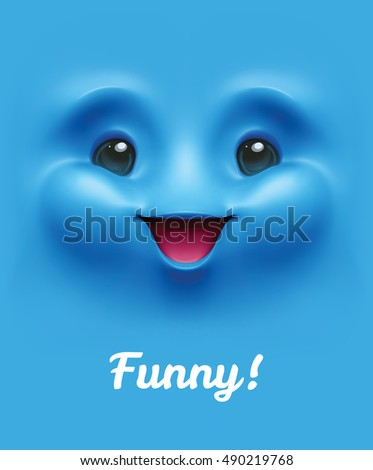 Expressive background. Funny smiling chubby face emoticon emoji, smiley. Vector illustration