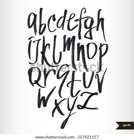 Expressive calligraphic script.Vector hand drawn alphabet.Hand drawn letters.Alphabet Font.Handwritten calligraphic black watercolor alphabet