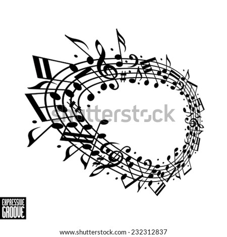 Expressive groove concept. Black and white design. Music background with clef and notes, musical theme template for your design.