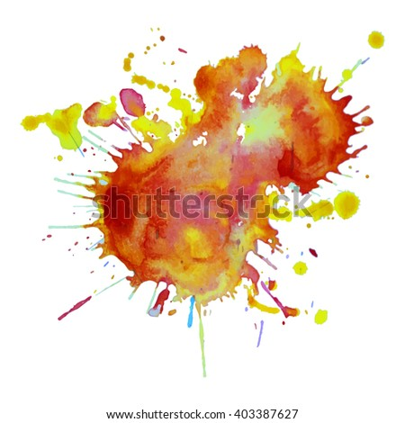 expressive watercolor spot blotch with splashes orange red  color. Banner for text, grunge element for decoration