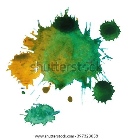 Expressive watercolor stain splash background,colorful paint drops texture - stock vector
