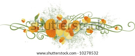 Exquisite floral design with a bunch of flowers and ornamental details, vector illustration series.