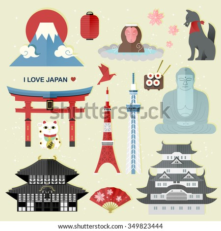 exquisite Japan travel collections set - Money in Japanese words on lucky cat - stock vector