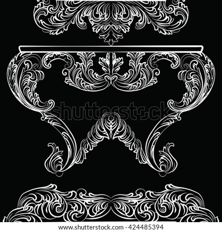 Exquisite Rich Rococo Table. French Luxury rich carved ornaments furniture. Vector Victorian Imperial Style furniture. White furniture on black background