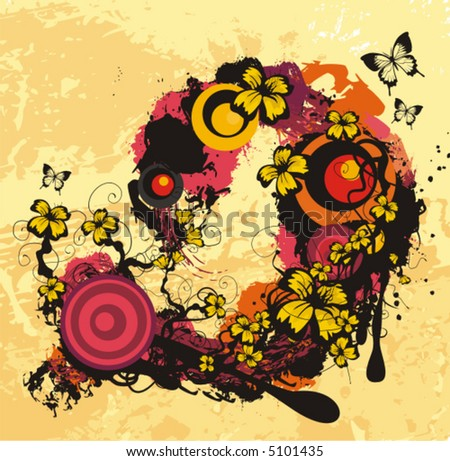 Exquisite vector illustration series. Floral foliage background with butterflies.