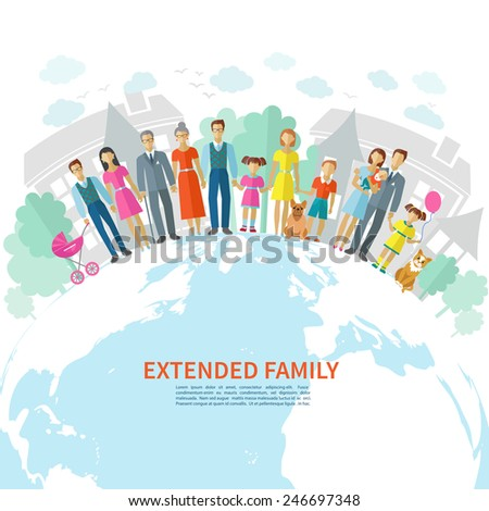 Extended family poster with flat men women children and pets on globe vector illustration - stock vector