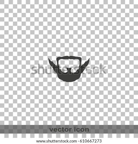 Extended Goatee Style Beard Mustache Icon Stock Vector 610667273