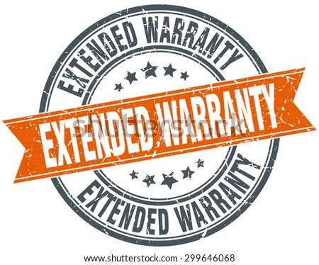 extended warranty round orange grungy vintage isolated stamp - stock vector
