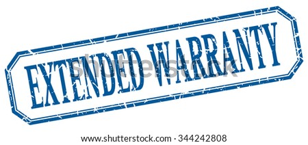 extended warranty square blue grunge vintage isolated label - stock vector