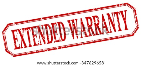 extended warranty square red grunge vintage isolated label - stock vector