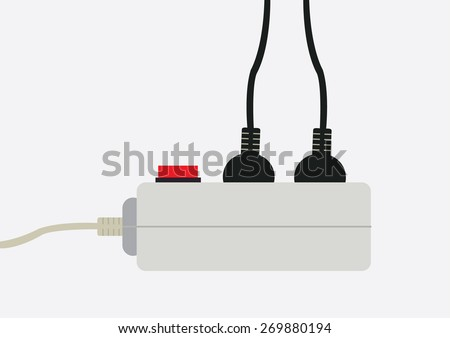 extension lead, vector illustration - stock vector