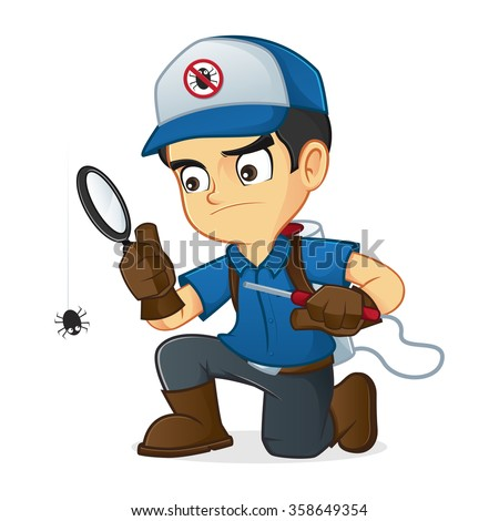 Exterminator searching for bugs and kill them - stock vector