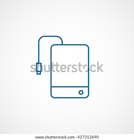 External Hard Disc Drive Blue Icon On White Background - stock vector