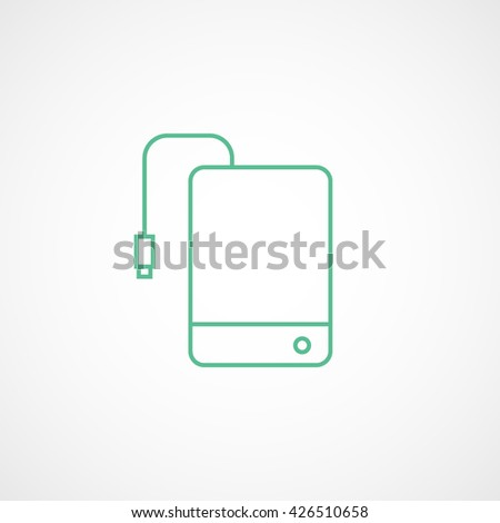 External Hard Disc Drive Green Line Icon On White Background - stock vector