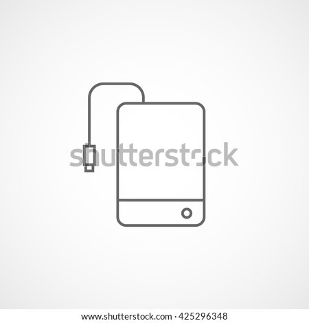 External Hard Disc Drive Line Icon On White Background - stock vector
