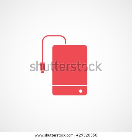 External Hard Disc Drive Red Icon On White Background - stock vector