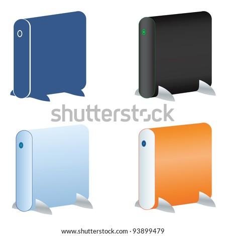 External hard drive icons set - stock vector