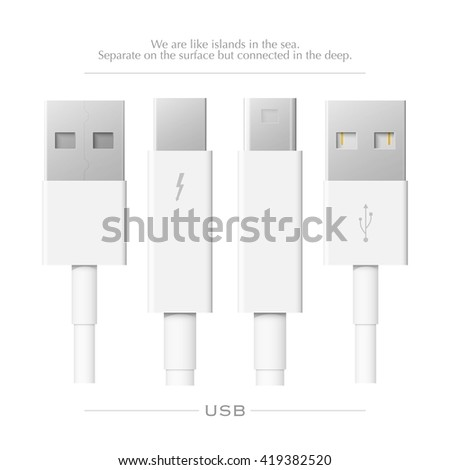 external peripherals interface cable isolated on white background. vector, thunderbolt PCI Express and Display Port icons design. computer peripheral or monitor high speed connector supply - stock vector