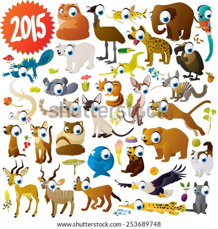 extra big set of cartoon comic funny cute animals: antelope, elephant, cats, newt, eagle, vulture, olm, gar, chinchilla, chipmunk, dugong, numbat, hyena, quetzal, puma, kudu, impala, polar bear, emu - stock vector