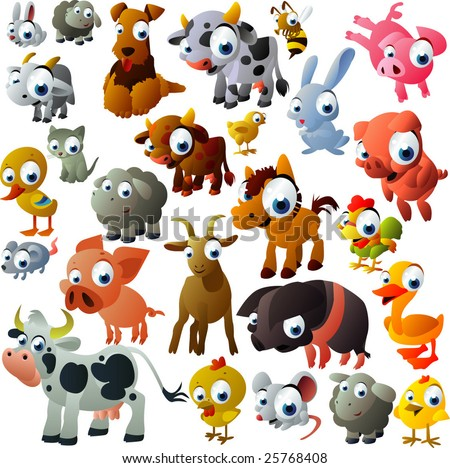 extra big set of farm animals - stock vector
