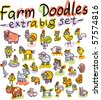 extra big set of vector farm animals - stock vector
