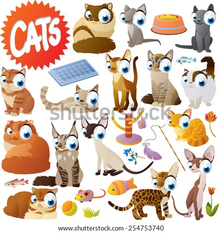 Extra big set of vector isolated cartoon comic cute funny cats - stock vector