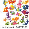 extra big vector fish set - stock vector