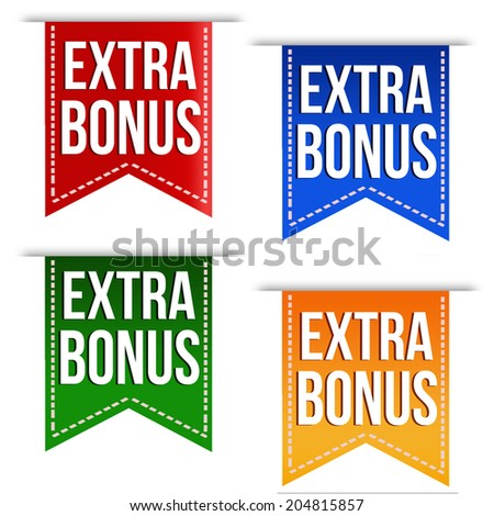 Extra bonus ribbons set in different colours on white, vector illustration