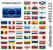 Extra glossy button flags. Big European set. 48 Vector flags. Original size of EU flag included. - stock vector