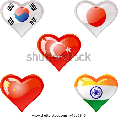 Extra glossy vector Flag heart, are good for: icon, button, design, decoration,  symbol - stock vector