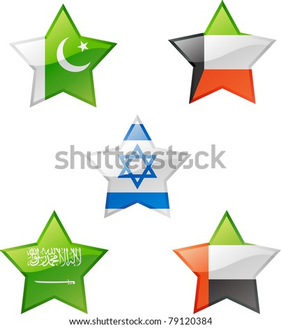 Extra glossy vector stars, national flag icons - stock vector