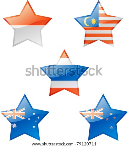 Extra glossy vector stars, national flag icons. - stock vector