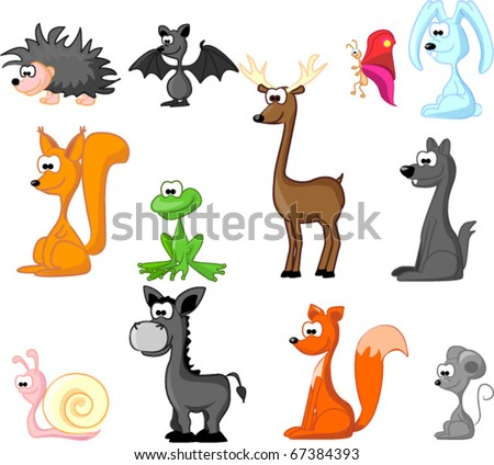 extra large set of animals including rabbit, wolf, coyote, fox, butterfly, hedgehog, deer, squirrel, mouse, frog, donkey, snail, bat