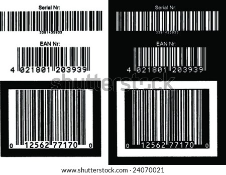 Extrafine grunge barcode number. Positive - negative vector version - stock vector