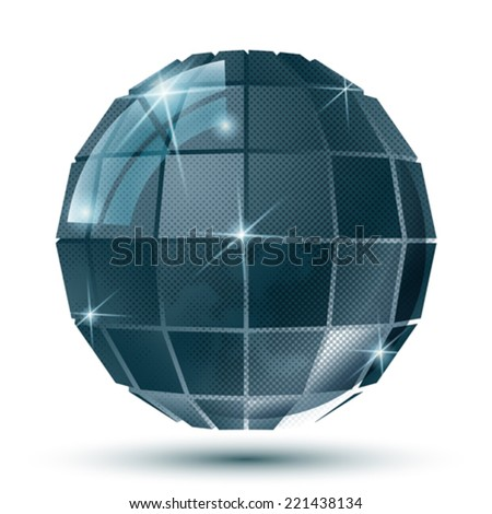 Extraordinary plastic dimensional symmetric construction created from squares, textured glossy eps10 globe.