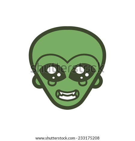 extraterrestrial alien icon green man big black eyes smile extraterrestrial intelligence design for logo vector mascot - stock vector