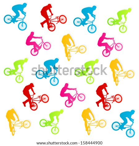 Extreme bicycle riders vector background illustration concept - stock vector