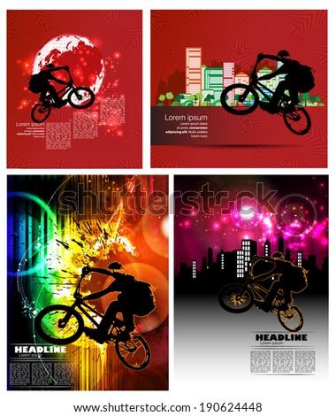 Extreme biker, vector - stock vector