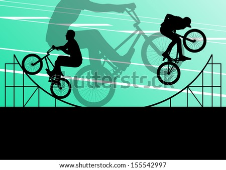 Extreme cyclist active sport silhouettes vector background illustration