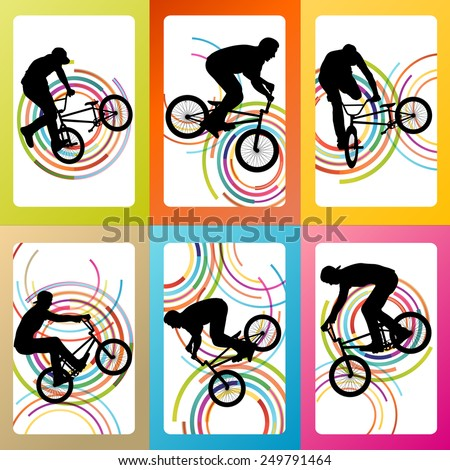 Extreme cyclists bicycle riders active children sport silhouettes vector background illustration concept - stock vector