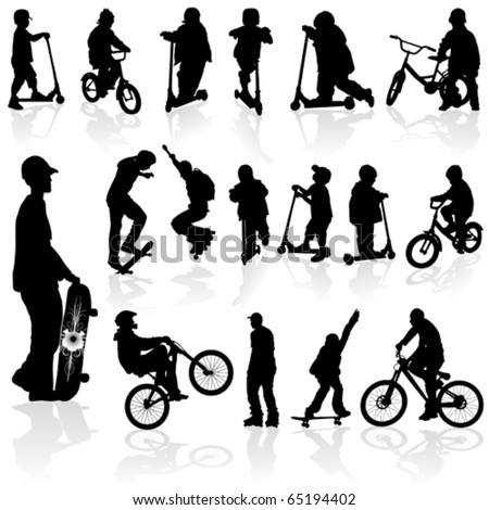 Extreme silhouettes children and man on roller, bicycle, skateboard, vector illustration - stock vector