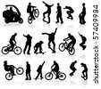 Extreme silhouettes man on roller, bicycle, scooter, skateboard, vector illustration - stock photo