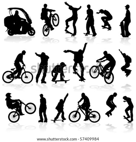 Extreme silhouettes man on roller, bicycle, scooter, skateboard, vector illustration