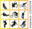 extreme sport and summer activities icon set, vector set - stock photo