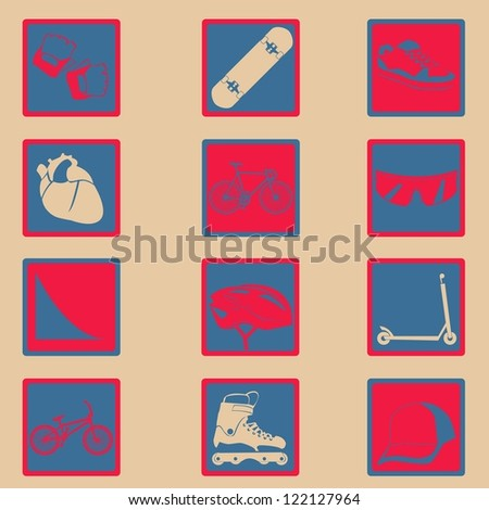 extreme sport classical icon set - stock vector