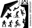 Extreme Sport Hang Glider Bungee Jump Rock Climbing Skating Icon Symbol Sign Pictogram - stock