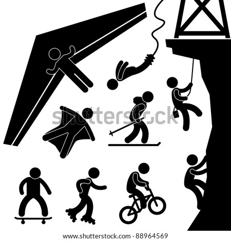 Extreme Sport Hang Glider Bungee Jump Rock Climbing Skating Icon Symbol Sign Pictogram - stock vector